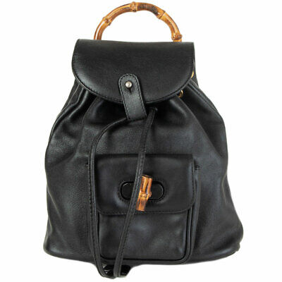 62094 auth GUCCI black leather VINTAGE MINI BAMBOO Backpack