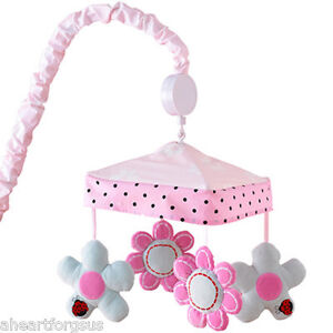 NEW JENNY TOO GOOD PRETTY IN PINK FLOWERS CRIB MOBILE PEM AMERICA LADYBUG GIRL