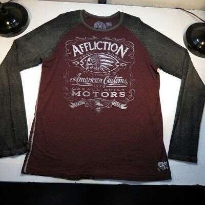 AFFLICTION AMERICAN CUSTOMS INDIAN LIVE FAST MOTORCYCLE SHEER TEE T SHIRT Sz XXL