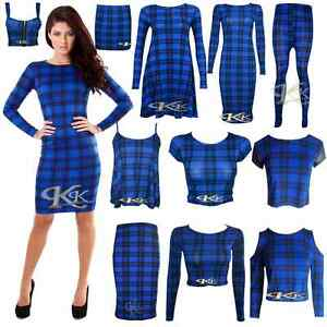 NEW-WOMEN-STYLISH-BLUE-BLACK-TARTAN-PRINT-SWING-TUNIC-CROP-TOP-SKIRTS-SIZE-8-26