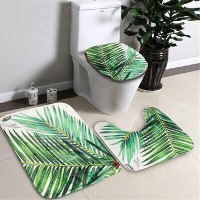 3Pcs Green Leaves Bathroom Toilet Seat Cover Pedestal Rug Bath Mat Pad Carpet US Leaves Bath Rug