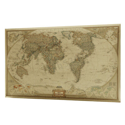 Retro Kraft Paper World Map Antique Poster Picture Wall Art Chart School -