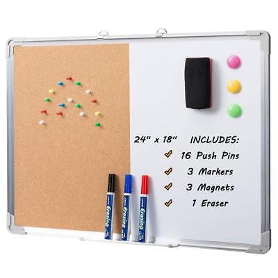 Magnetic Dry Erase Whiteboard Cork Board Combo Board Set Wall Mounted 24x18