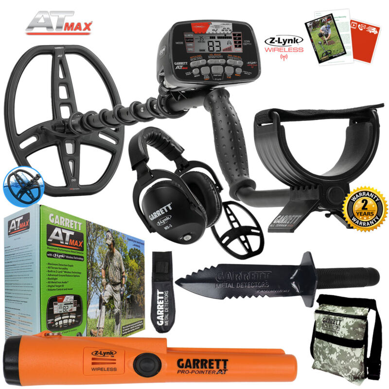 Garrett AT MAX Underwater Detector, MS-3, Pro-Pointer AT Z-Lynk, Digger & Pouch