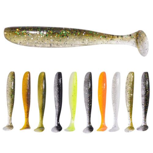 10PCS Wholesale Lifelike Soft Fishing T Tail Soft Worm Fishing Lures Bait Tackle