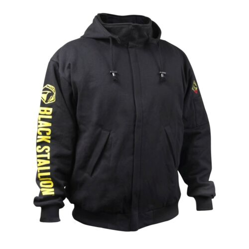 Black Stallion 9oz Black Full-Zip FR Hooded Sweatshirt (X-Large) (JF1331-BK)