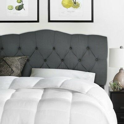 Queen full Upholstered Headboard bed frame Button Bedroom Furniture gray