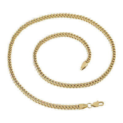 14K Gold Plated Solid Franco Square Box Link Chain Stainless Steel 2.5mm or -