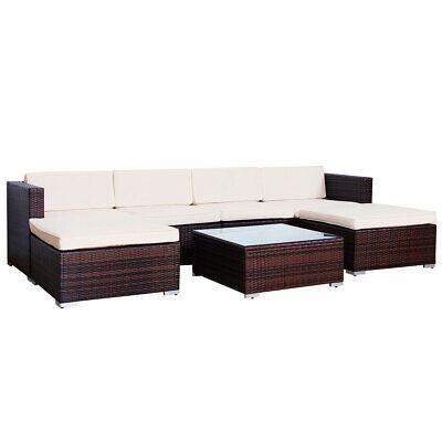 SVITA LUGANO Polyrattan Lounge Rattan Set Couch Sofa Garnitur braun Gartenmöbel 1