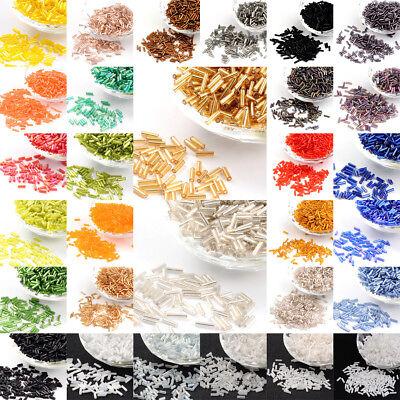 1100pcs/50g Glass Bugle Beads Loose Tube Seed Beads DIY Craft 6x1.8mm Pick Color Glass Bugle Beads