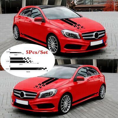 1Set Car Stickers - Side Door/Hood Cover/Rear Mirror - Black Racing Long Stripe