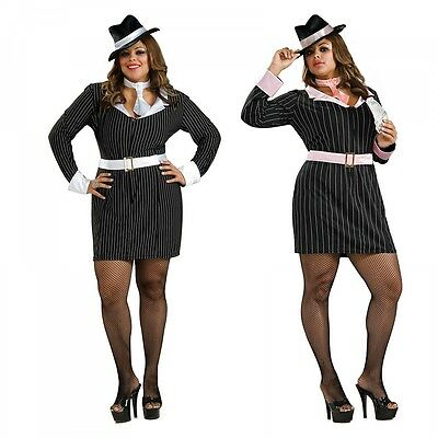 Female Gangster Costume Adult Mafia Girl Mobster Halloween Fancy (Halloween Gangster Girl)