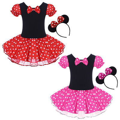 Minnie Mouse Outfit For Halloween (Minnie Mouse Costume for Girls Fancy Party Tutu Polka Dot Dress up Ear)