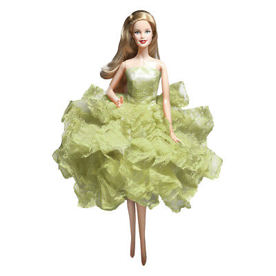 Barbie Strapless Gown - Barbie Ball Gown Strapless Layers of Organza Green Dress