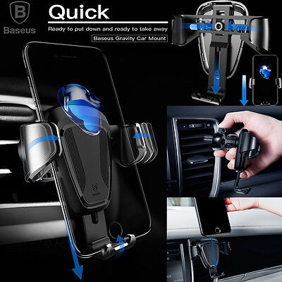One Hand 360 Universal Gravity Car Mount Air Vent Holder Cradle F Cell Phone Gps