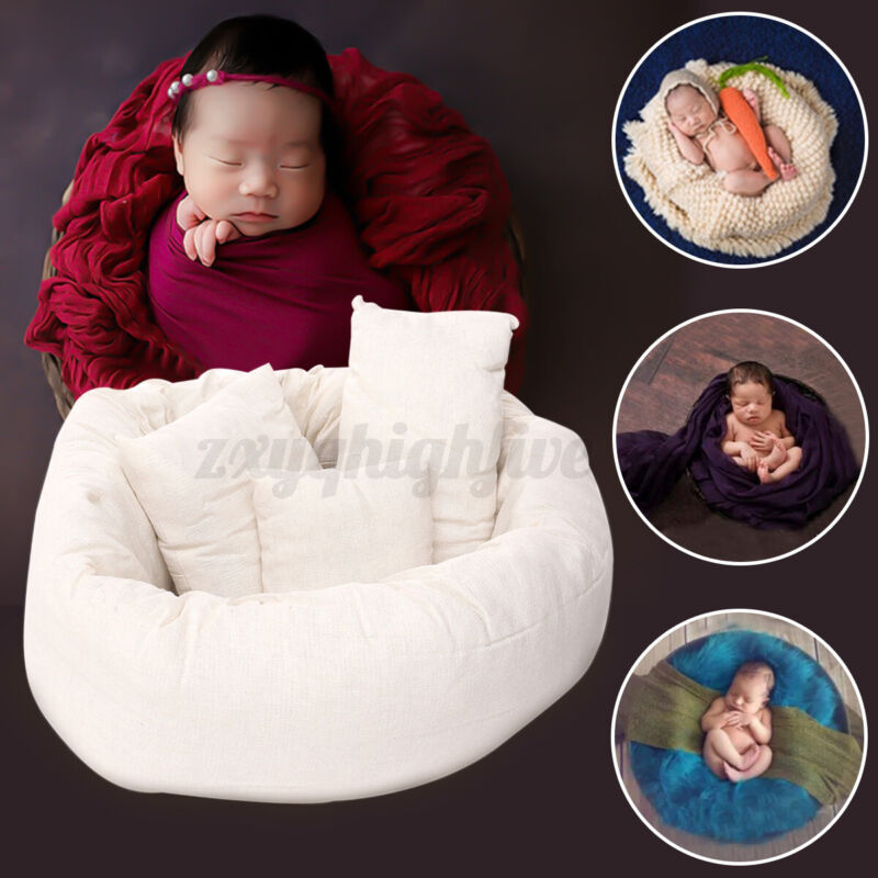 4PCS Newborn Baby Photography Props Basket Posing Pillow Donut Photo Backdrop