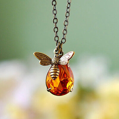 Sweet Bee And Honey Drop Necklace Brass Chain Bee Crystal Pendant Necklace Gift