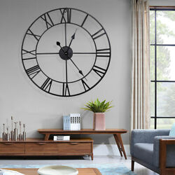 New 23.6 Oversized 3D Skeleton Metal Wall Clock Round Roman Numerals Home Decor