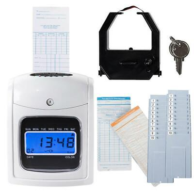 Time Clock Electronic Record Lcd Display Card Machine Track Employee Attendance