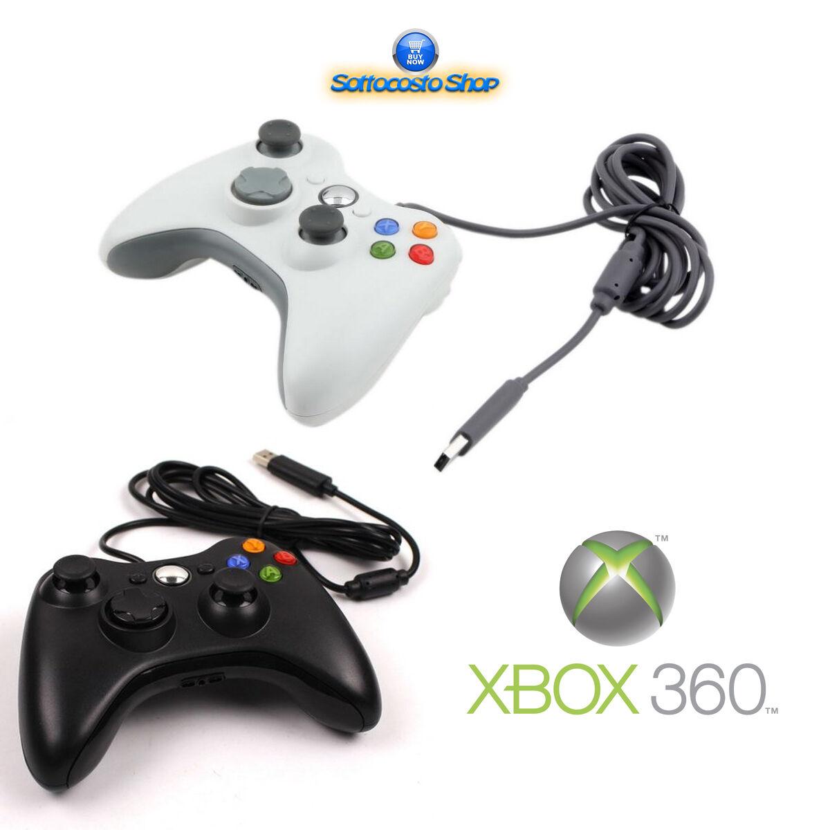 CONTROLLER XBOX 360 JOYSTICK PAD COMPATIBILE PER CONSOLE PC CON CAVO USB BIANCO