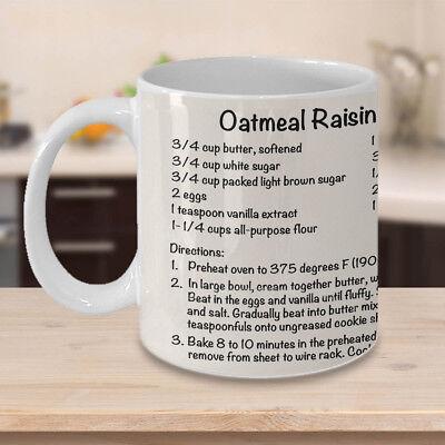 Oatmeal Raisin Cookie Recipe Mug ~ Coffee Cup ~ Baker Gift ~ Chef Mug ~ Kitchen ()