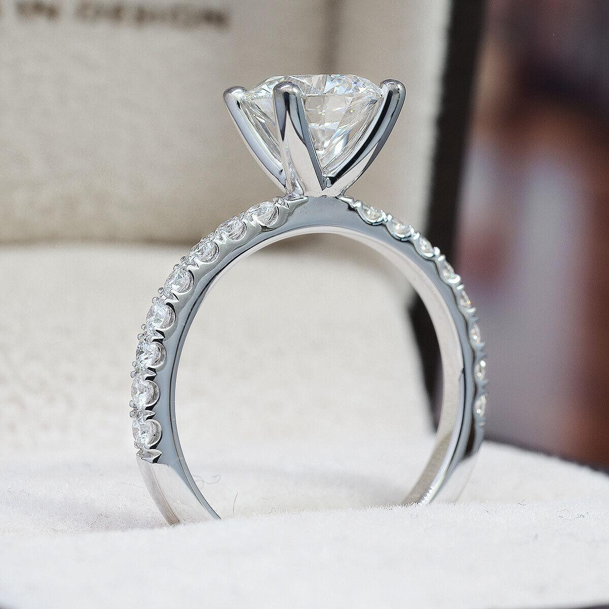 1.57 TCW Natural Round Cut U-Pave Diamond Engagement Ring - G-SI1 Triple X GIA  2