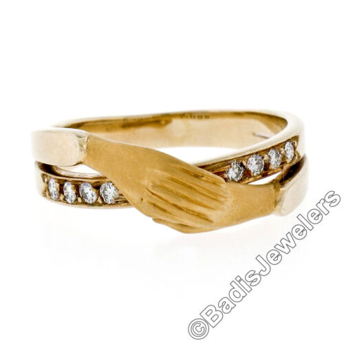 Carrera Y Carrera 18k Yellow Gold Two Folded Hands W/ 0.16ctw Diamond Band Ring
