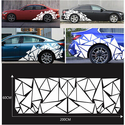 White Freestanding Geometric Triangle Pattern Decal Car Body Side Vinyl Stickers