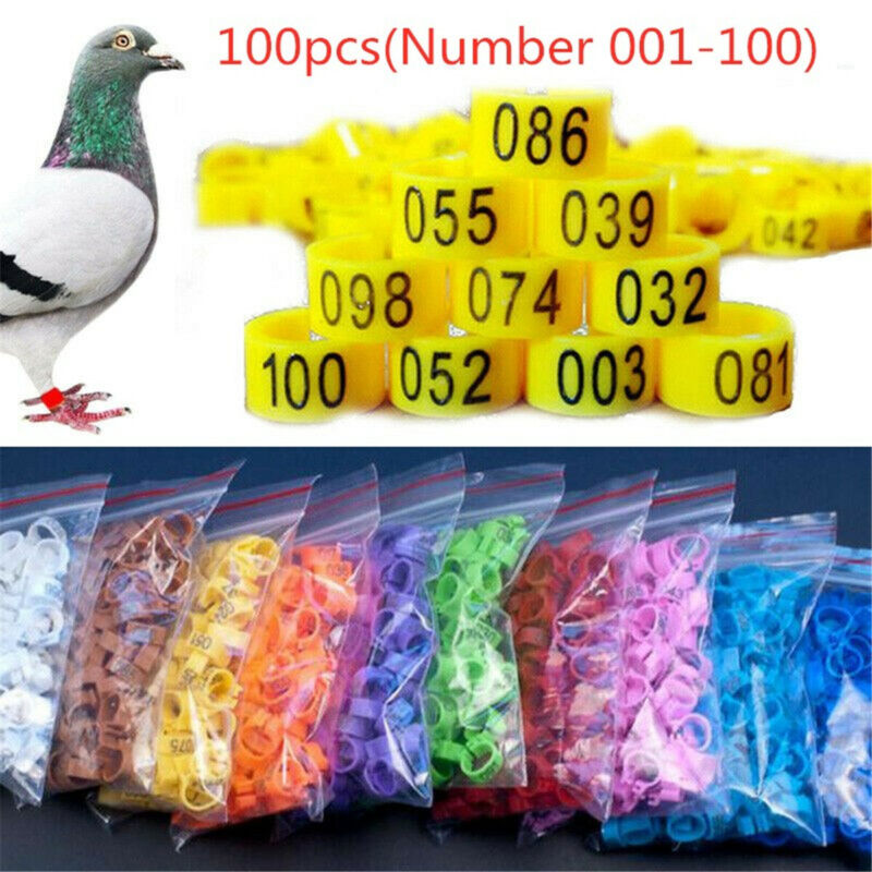 100PCS Bird Rings Leg Bands For Pigeon Parrot Poultry Clip Rings Number 1-100 US