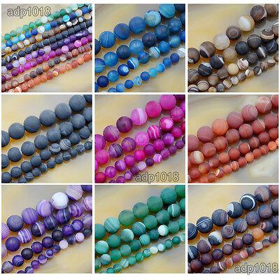 Agate Gemstone Loose Beads (Natural Matte Stripe Agate Gemstone Round Loose Beads 15.5'' Strand 6mm 8mm)