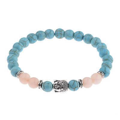 8MM Natural Turquoise Stone Rock Yoga Energy Chakra Beads Elastic Agate Bracelet