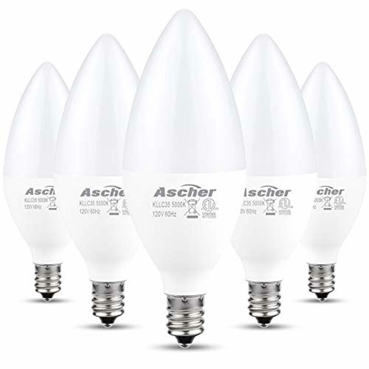 LED Candelabra Light Bulbs E12 5000K Daylight White Non Dimm