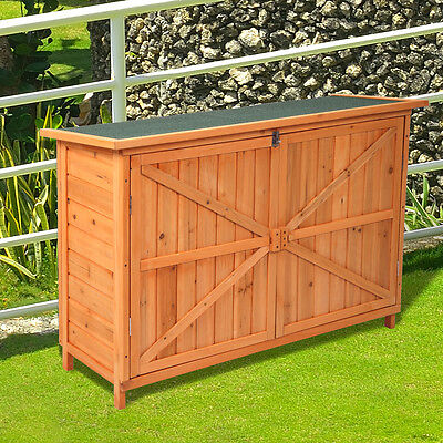 Wooden Garden Shed Cabinet Yard Lockable Storage Unit W/ Double Doors Outdoor