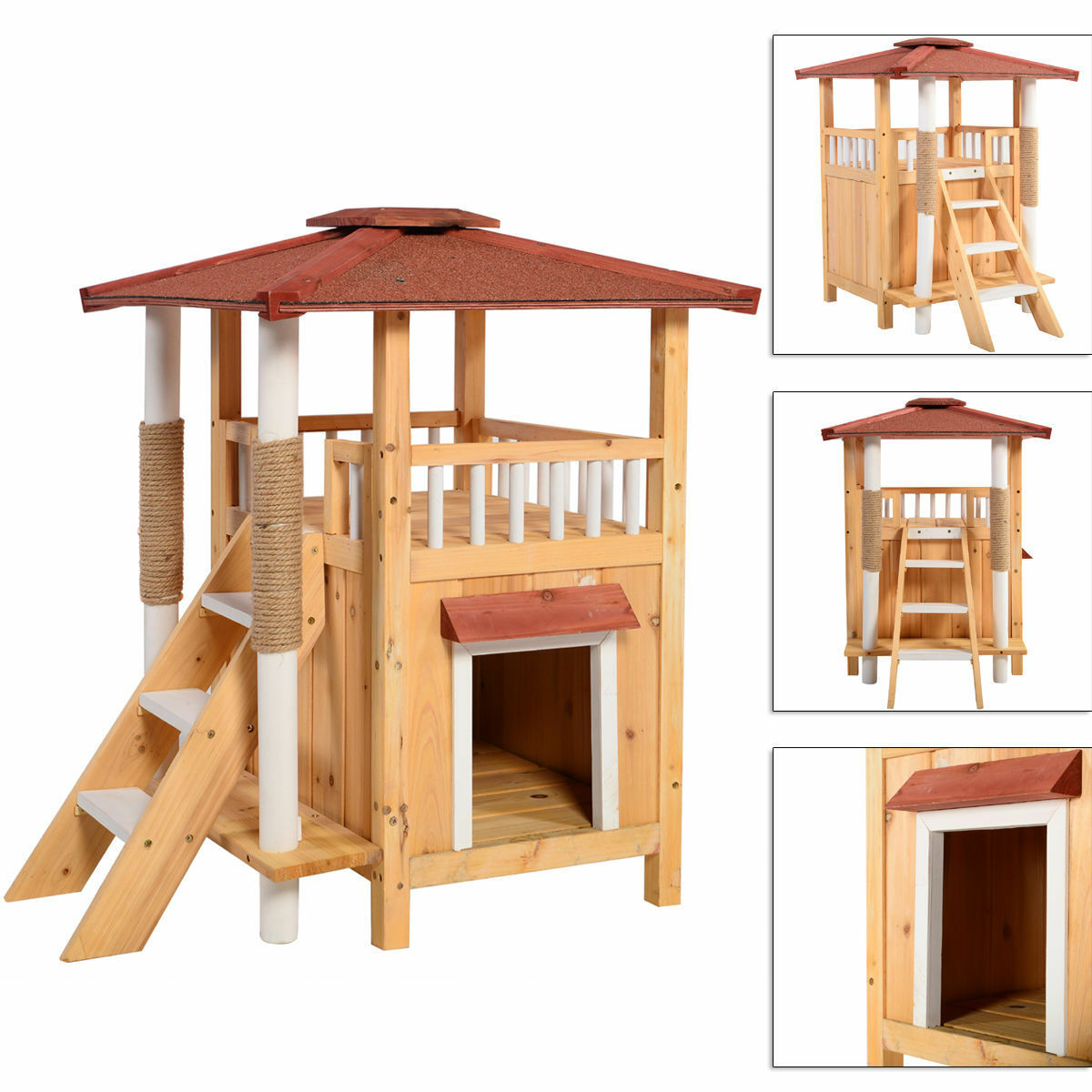 cat house pet shelter roof condo wood steps balcony puppy