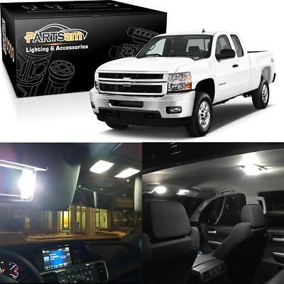 12) For Chevrolet Silverado 07-13 White Interior LED Light Package Kit + License