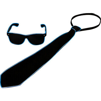 Blue Light Up Neon Tie + Sunglasses - Rave Party 80s EDC LED Accessories Burning (Led Tie)
