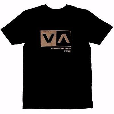 RVCA CUT OUT BOX Black Tan Distressed Screenprint S/S Standard Fit Men's T-Shirt ()