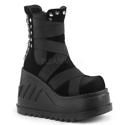 DEMONIA Wedge Platform Punk Gogo Black Velvet Elastic Panel  Women's Calf Boots