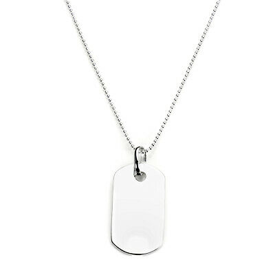925 Sterling Silver Plain Personalised Dog Tag Pendant Necklace 1mm Bead (Plain Dog Tag Necklace)
