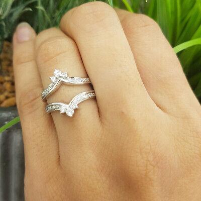 0.55Ct Round Cut Diamond Elegant Wedding Enhancer Guard Ring 14k White Gold -