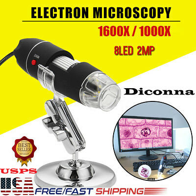 1600x1000x 8 Led Usb Zoom Digital Microscope Hand Held Biological Endoscope Usa