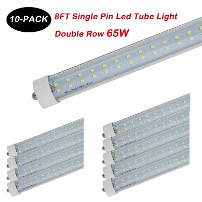 8FT 65W Single Pin FA8 T8 T12 Double Row  LED Tube Light 6500K 85-277V Clear NEW