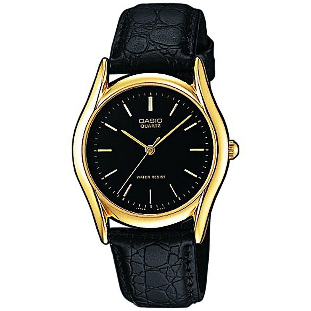 Casio Uhr MTP-1154PQ-1A Herren Armbanduhr Leder Schwarz Gold Watch Men NEU & OVP