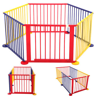 Wood Baby Playpen Kids 6 Panel Safety Play Center Yard Home Indoor Outdoor Game