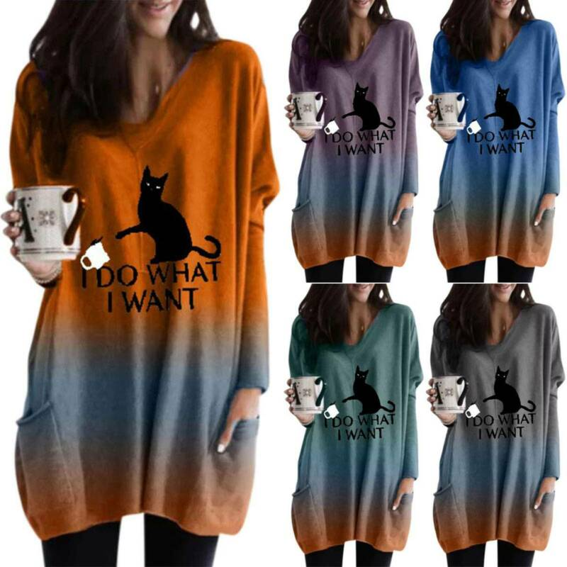 Damen Katze T-Shirt Langarm Bluse Top V Neck Tunika Pullover Longtop Oberteile