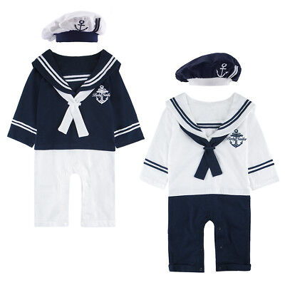 Baby Boys Sailor Romper Costume Newborn Navy Playsuit Infant Outfit Marine Suit