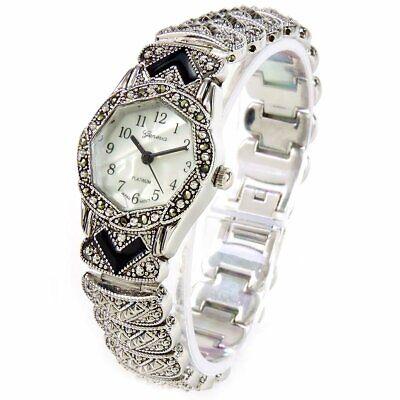 Marcasite Silver Black Vintage Style Bracelet Watch for Women - NIB - New Ladies Marcasite Style Watch