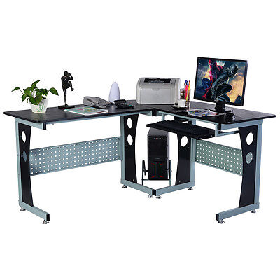 COSTWAY Wood L-Shape Corner Computer Desk PC Table Workstation Home Office Black