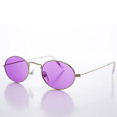 Lila Farbe Getönt Ovale Gläser 90s Vintage Sonnenbrille Goldrahmen - Sherbert