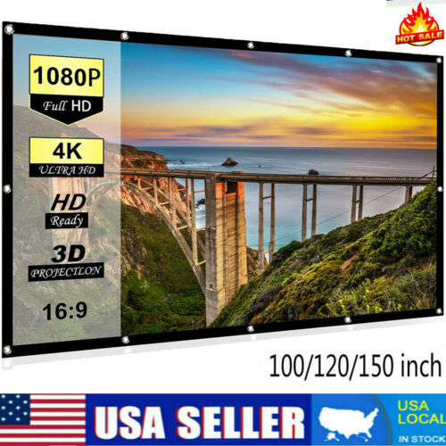 """100""""-150"""" Thick HD Projector Screen 16:9 Home 4K Movie Theater Opaque Foldable"""